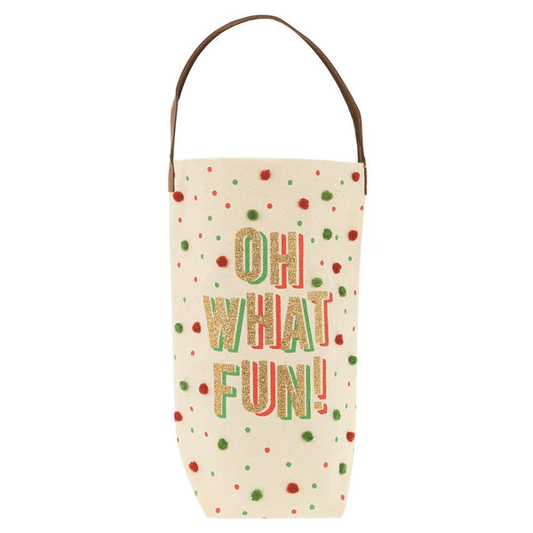 Oh What Fun Holiday Wine Canvas Bag
