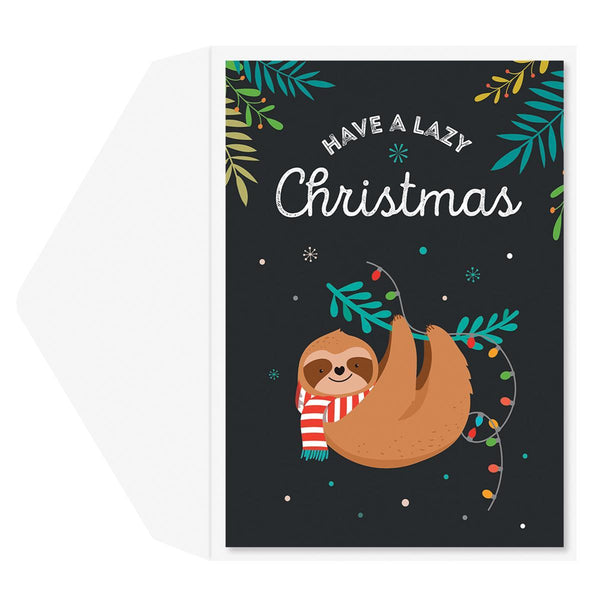 Lazy Christmas Sloth Holiday Greeting Card