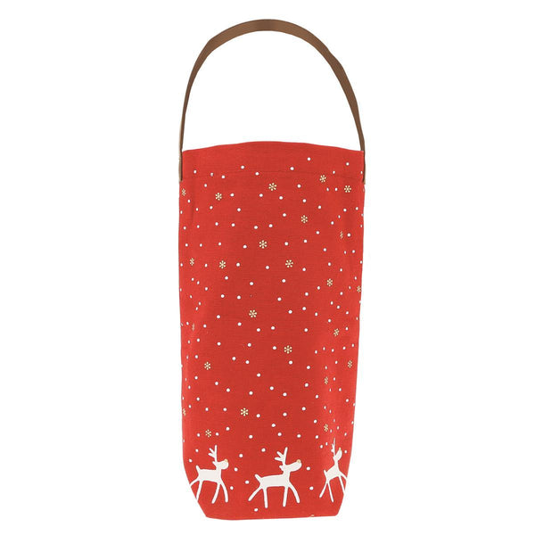 Happy Reindeer Holiday Wine Canvas Bag