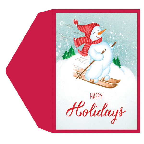 Skiing Snowman Holiday Greeting Card