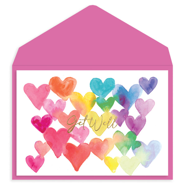 Rainbow Hearts Get Well Card