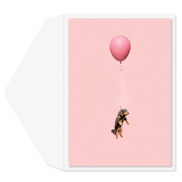Dog on Balloon Birthday Card