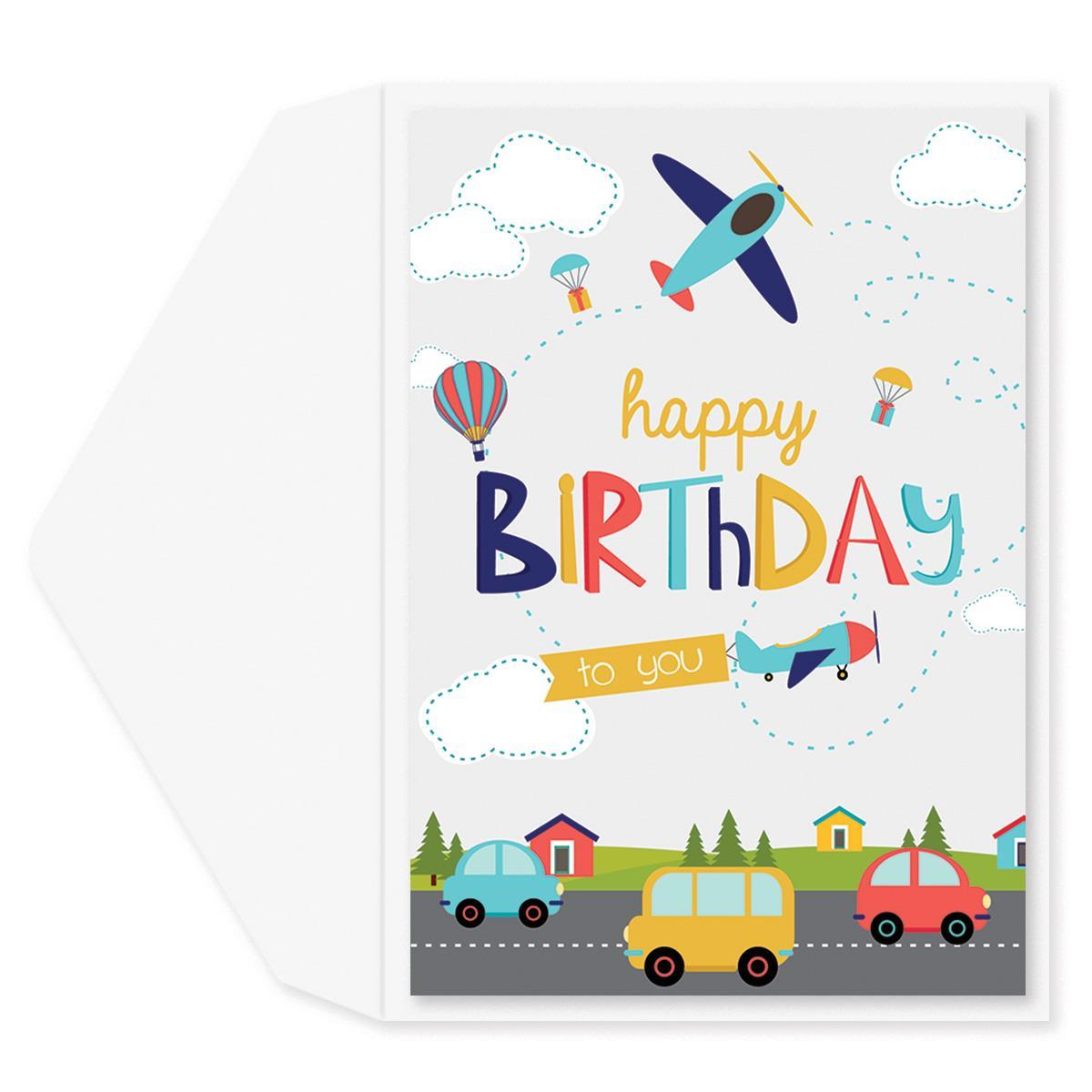 Cars and Airplanes Birthday Card
