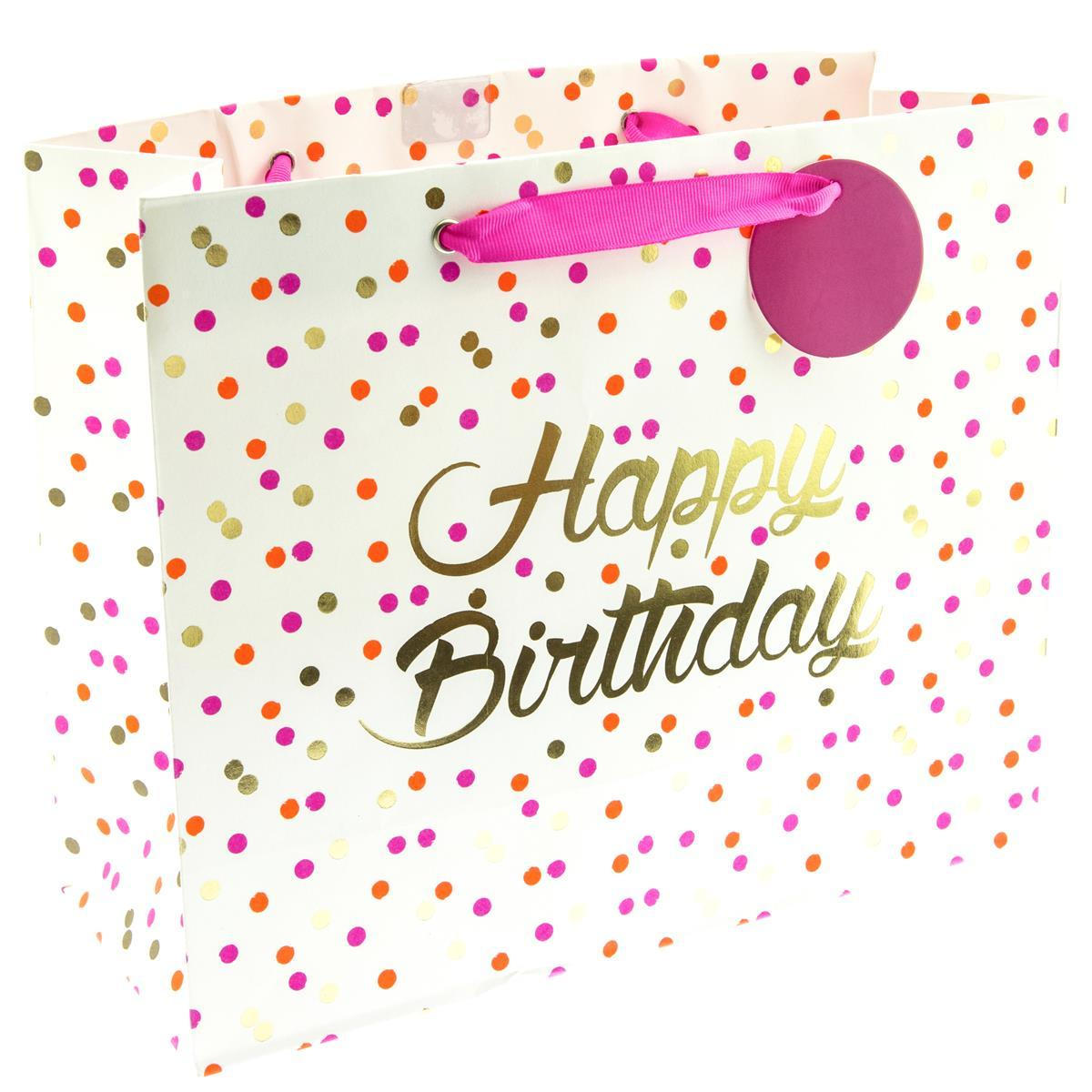 Happy Birthday Neon Dots Medium Gift Bag