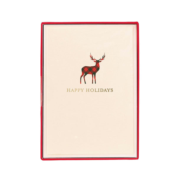 Plaid Reindeer Holiday Petite Boxed Cards