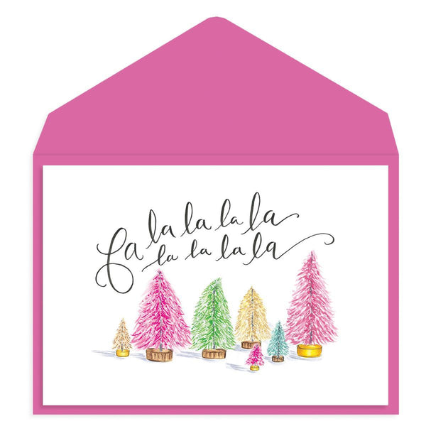 Colorful holiday trees - Fa la la la Greeting Card