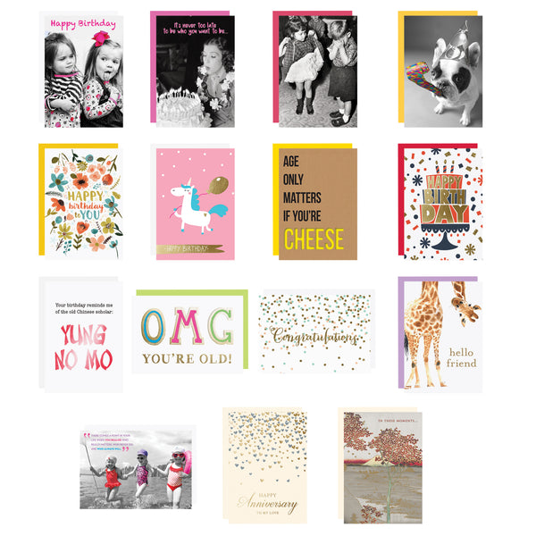 Graphique All Occasion Greeting Card Set of Assorted Greeting Cards (Set of 15)—Birthday, Anniversary, Sympathy, Friendship, Thank You, Congrats ($52.00 VALUE)