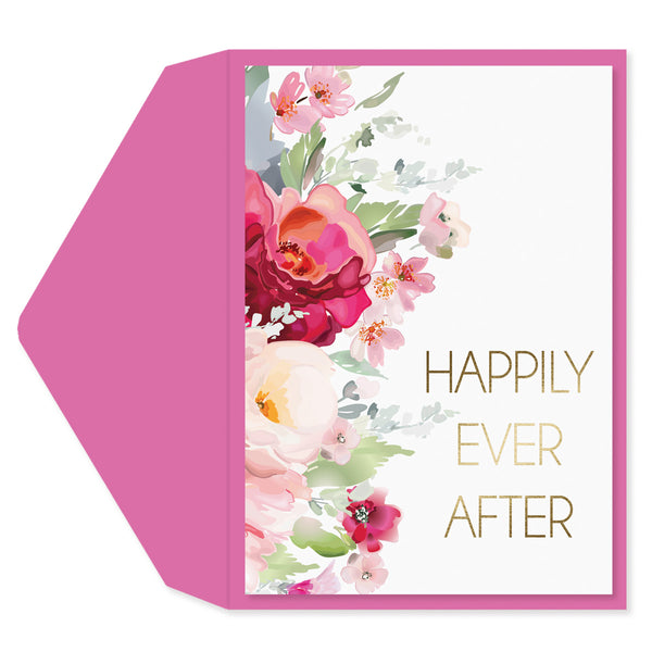 Floral Happily Ever After Engagement Card