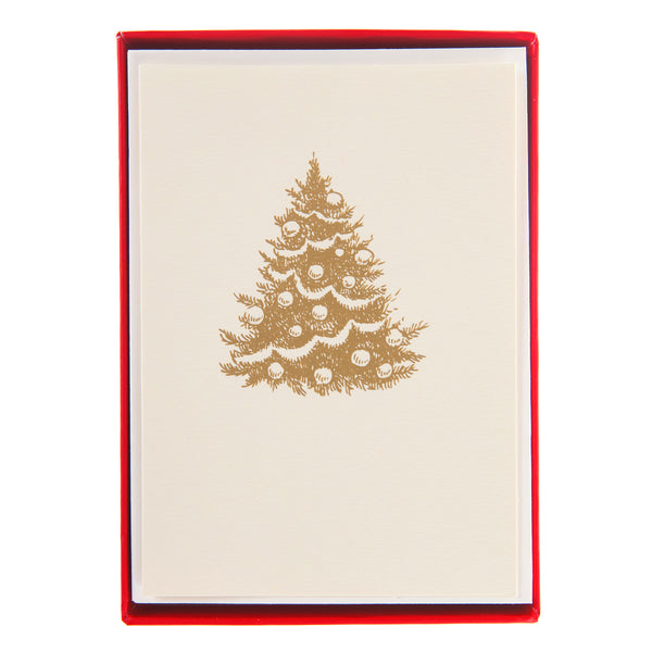 Cute Gold Tree Holiday Petite Boxed Cards