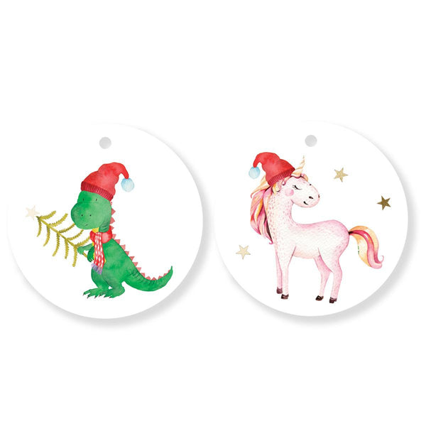 Unicorn and Dinosaur Holiday Duo Gift Tags