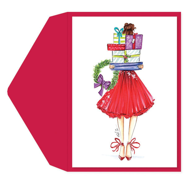 Christmas present girl Holiday Greeting Card