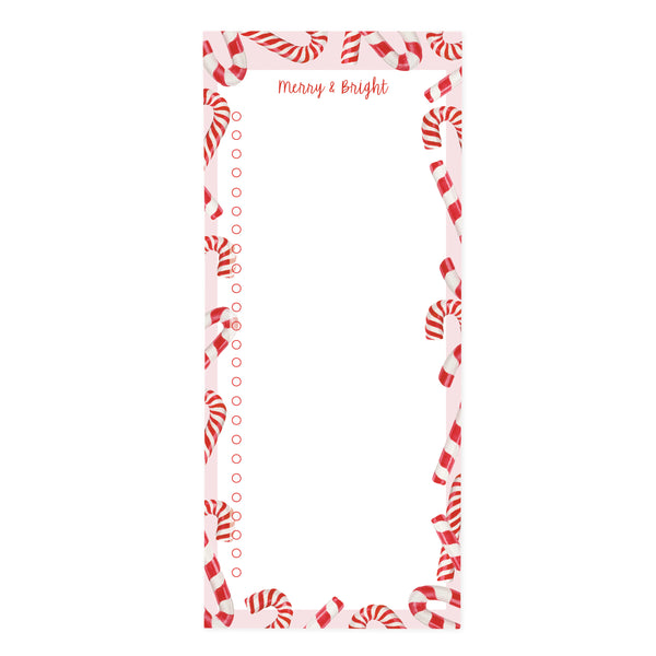Candy Cane Merry & Bright Holiday Magnetic Notepad