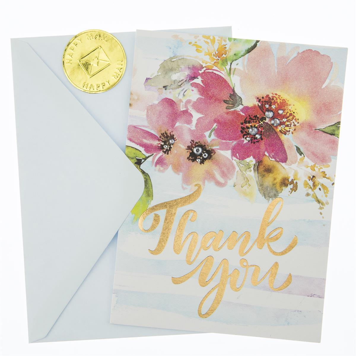 Watercolor Floral Thank You Thank You Handmade Card