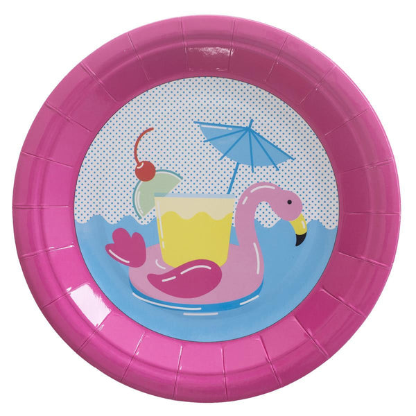 Flamingo Floaty 7 inch paper plate