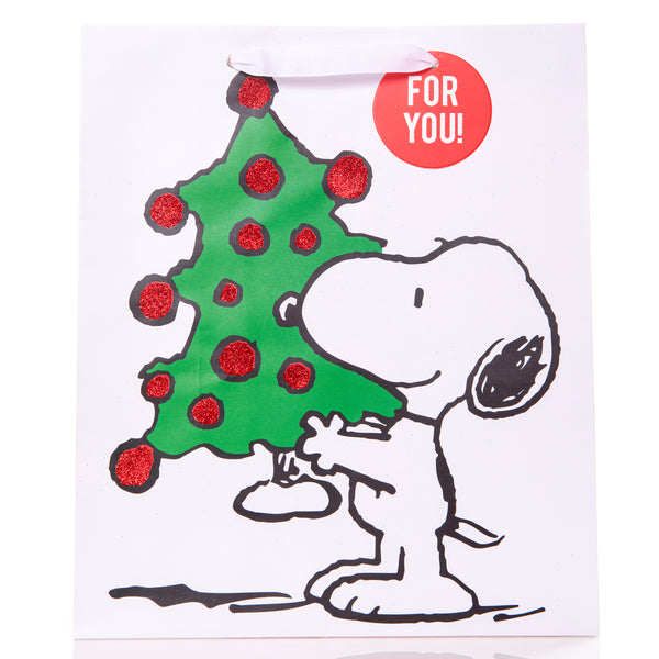 Snoopy Holding Tree Holiday Large Gift Bag