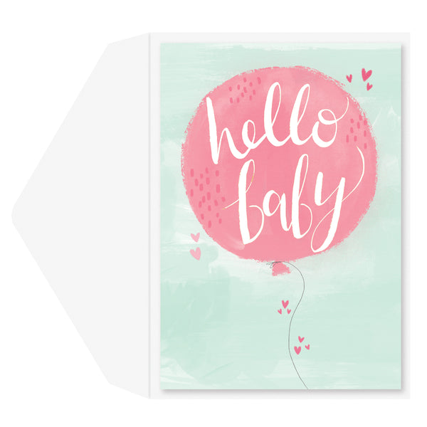 Hello Baby Balloon Baby Card