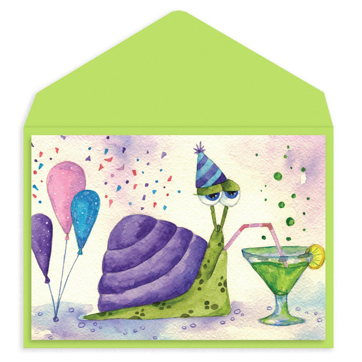 Snail Party Birthday Card