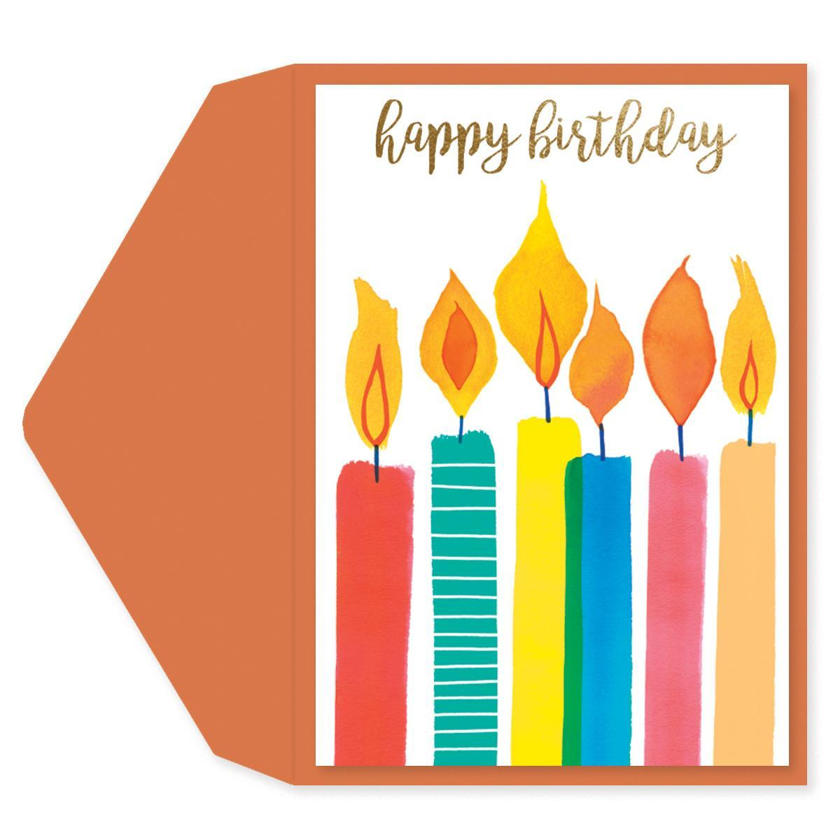 Watercolor Candles Birthday Card