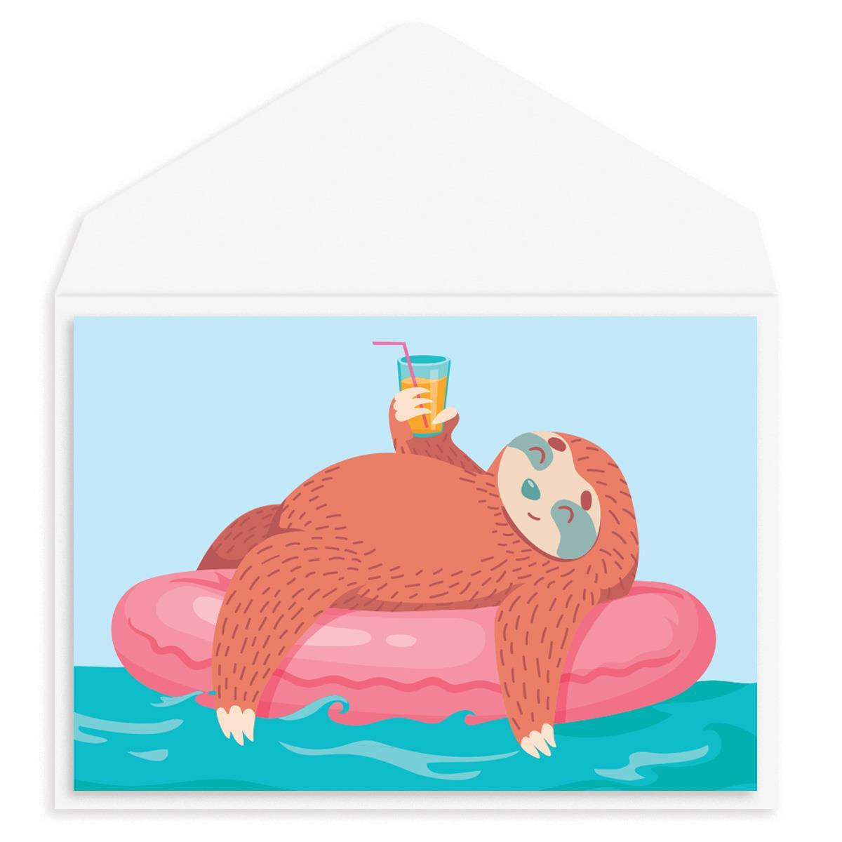 Relaxing Sloth Blank Card