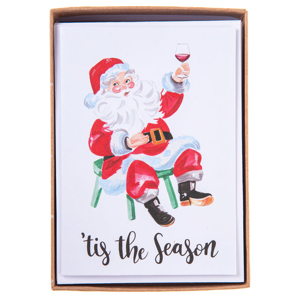 Santa Wine Holiday Petite Boxed Cards