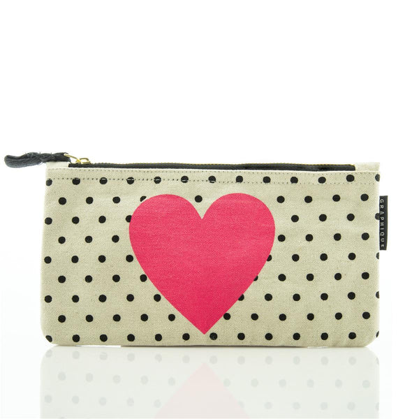 Heart and Dots Small Zip Pouch