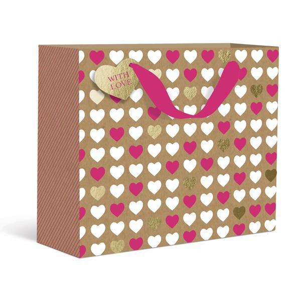 Kraft Hearts Small Gift Bag