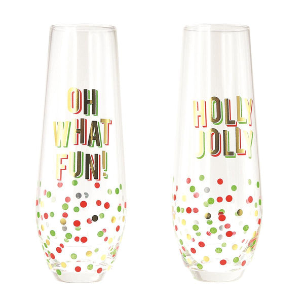 Oh What Fun Stemless Champagne Flutes