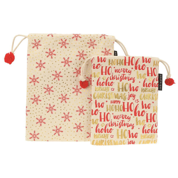Ho Ho Ho and Snowflakes Holiday Gift Sacks