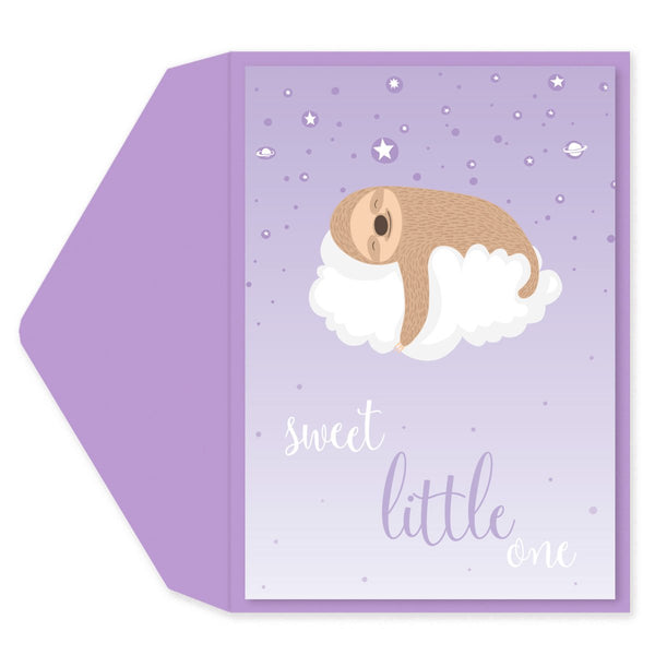 Sleepy Sloth on Cloud Baby Shower Card