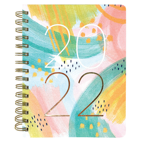 Painted strokes 6 x 8 18-Month Spiral Vegan Leather Planner