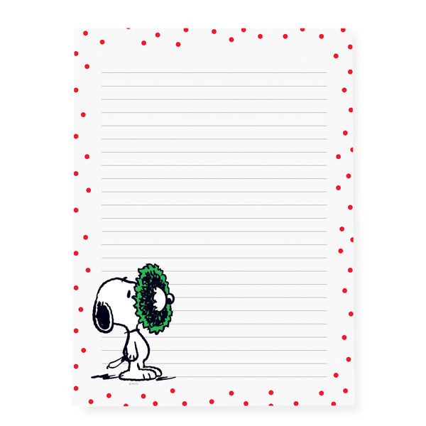 Peanuts Red Dot Wreath Large Notepad