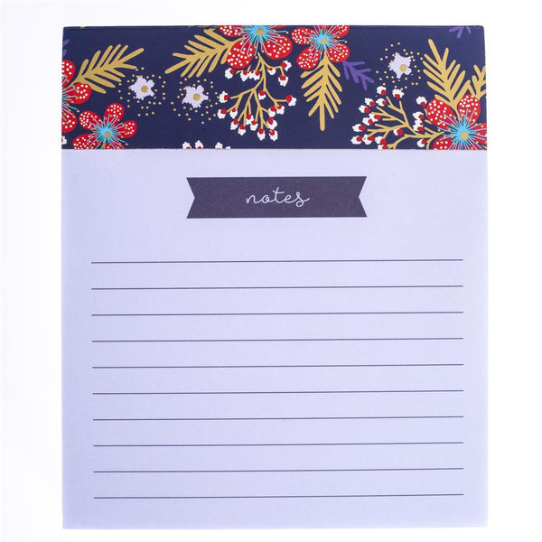 Red Navy Floral Jotter Notepad