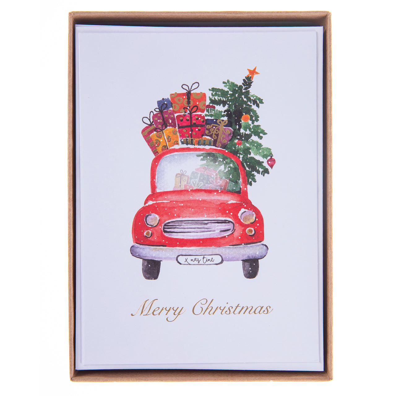Car With Tree Holiday Large Boxed Cards
