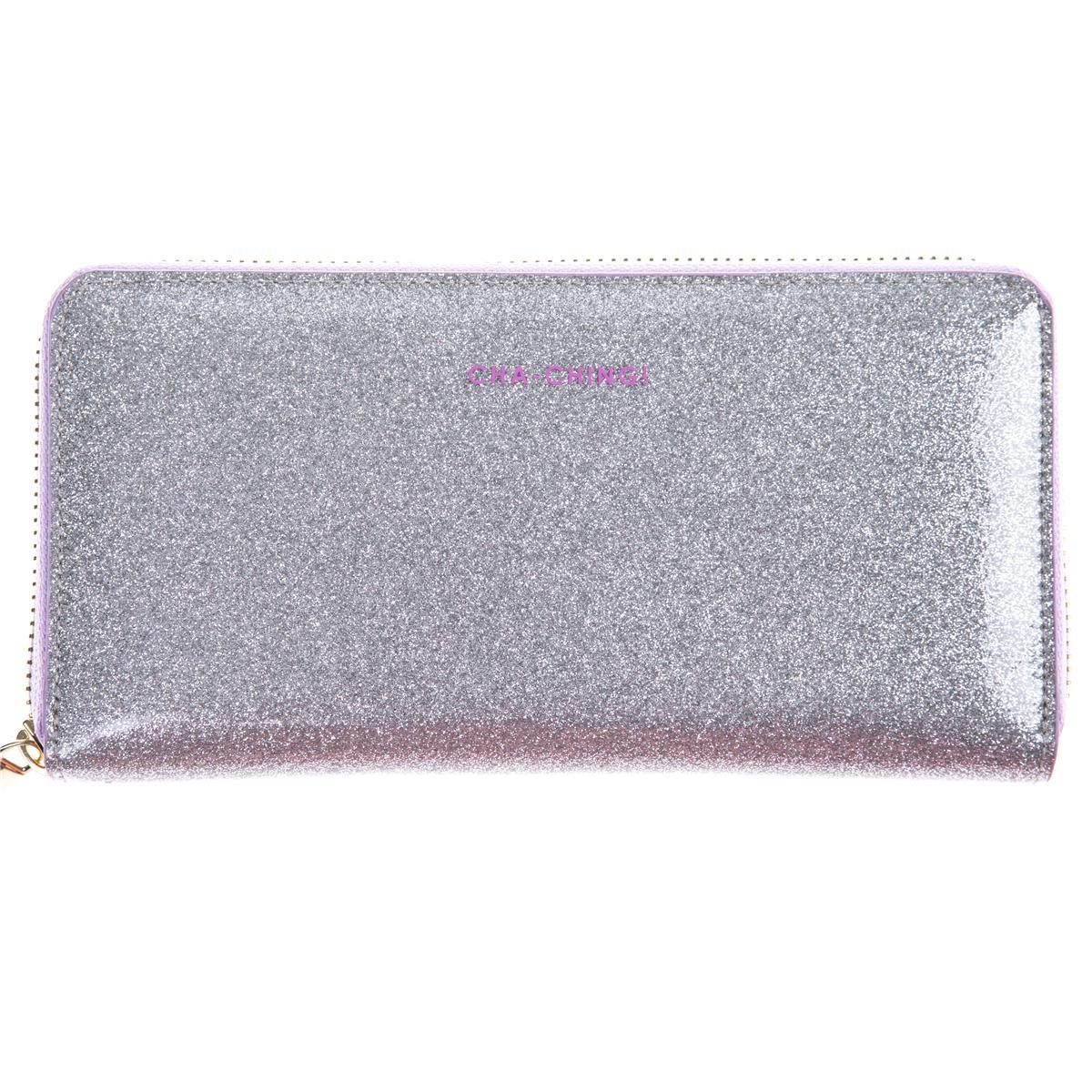 White Glitter Zip-Around Wallet