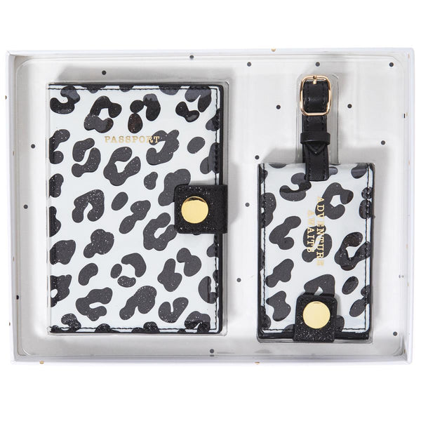 Animal Print Passport Case & Luggage Tag Set