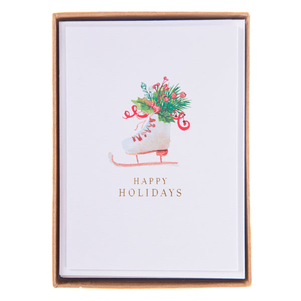 Watercolor Ice Skate Holiday Petite Boxed Cards