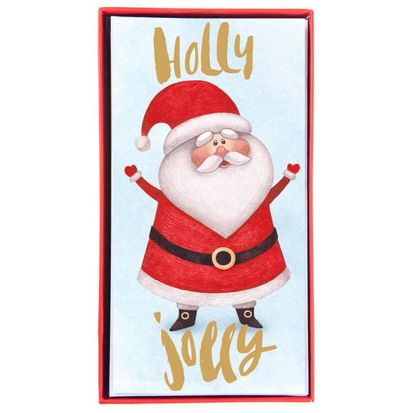 Holly Jolly Santa Holiday Money Holder Boxed Cards