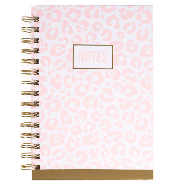 Pink Leopard Print 6x8 Spiral Hard Cover Journal