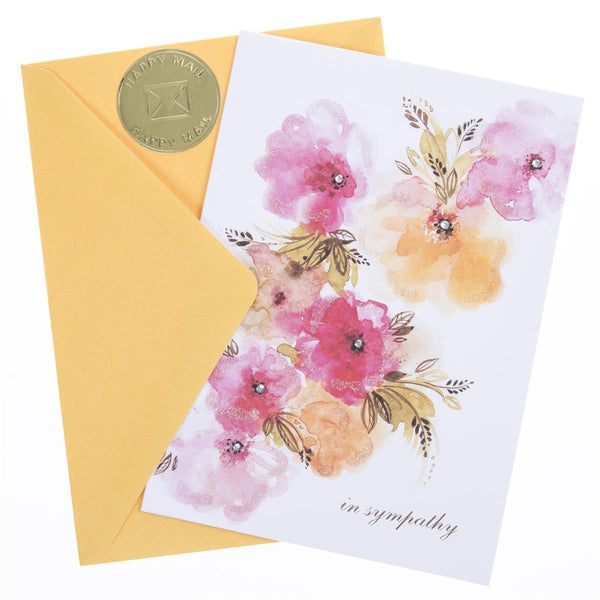 Orange Pink Floral Sympathy Handmade Card