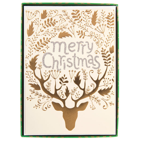 Merry Christmas Gold Reindeer Holiday Large Boxed Cards