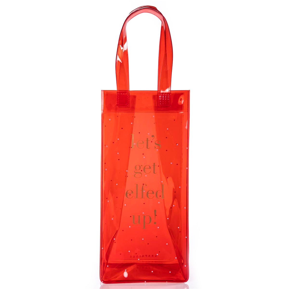Elfed Up Holiday vinyl wine tote