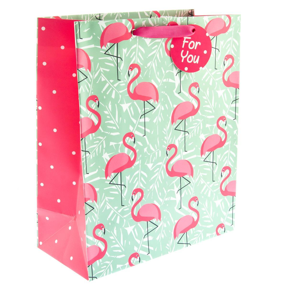 Flamingo Leaves Medium Gift Bag