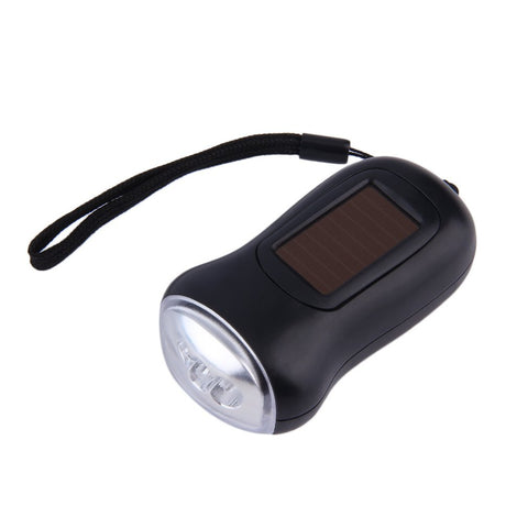 ABS plastic Mini Portable Hand Crank Dynamo 3 LED Solar Powered Flashlight Camping Torch