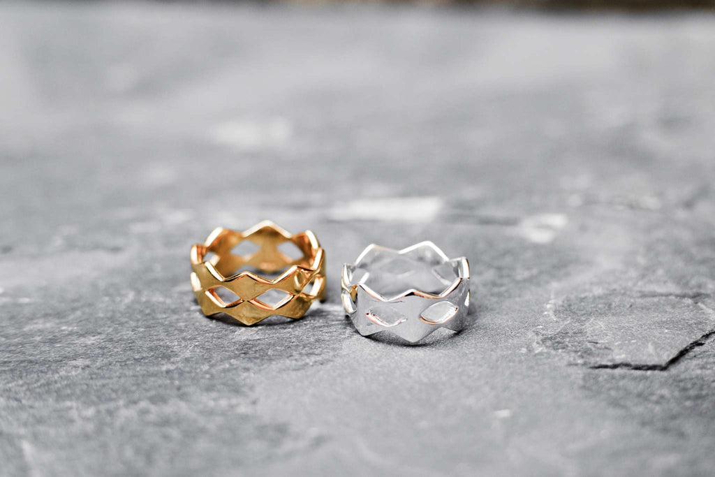 Rhombic Double Ring - Silver
