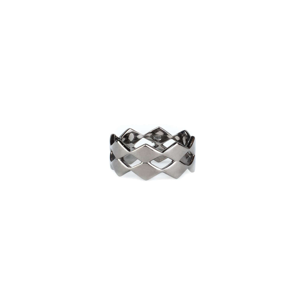 Rhombic Double Ring - Black
