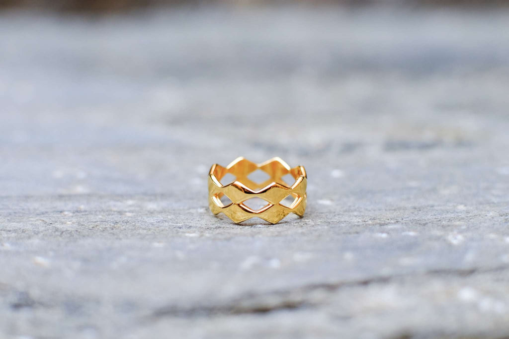 Rhombic Double Ring - Gold