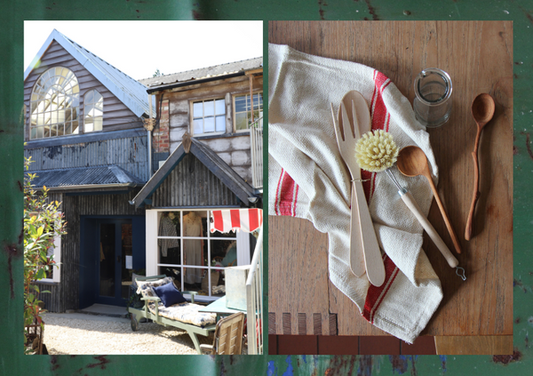 corrugated-iron-shop-with-white-shop-window-and-sun-lounger-out the front next to a photo of wooden kitchen utensils. Both placed on top of green metal rustic material.