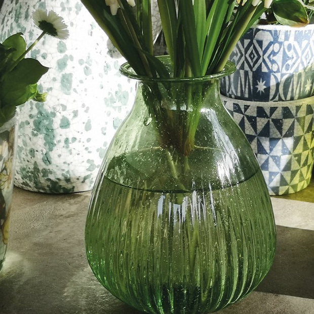 Ribbed Onion Vase Green