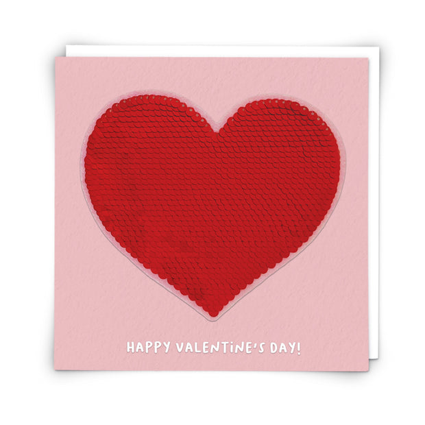 Valentine's Red Sequin Heart Card