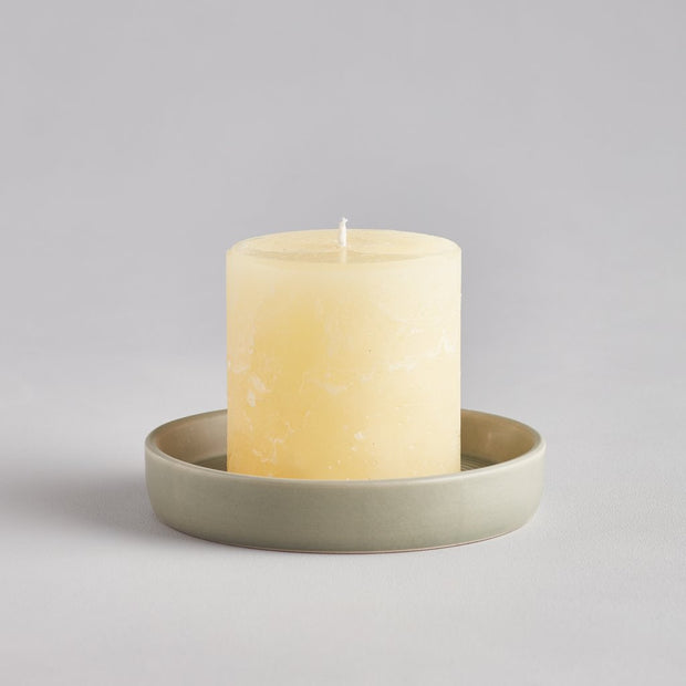 Ceramic Candle Plate Light Grey